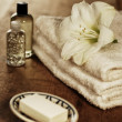 Beauty arrangement, towels with white flower — Photo