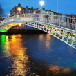 Ha'penny bridge in Dublin - Stock Photo
