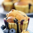 Delicious blueberry, oatsmeal and buttermilk muffins — Stock Photo
