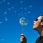 Man blowing a dandelion — Stock Photo #25980797
