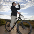 Mountain Biker Drinking Water — Stock Photo