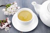 šálek zeleného čaje a japonská třešňový květ — Stock fotografie