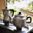 Tea and coffee pot on campside — Lizenzfreies Foto