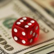 Dice and banknotes, — Stock Photo