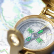 Stock Photo: Compass And Map