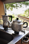 Tea and coffee pot on campside — Stok fotoğraf