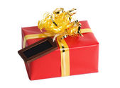 Little Red Wrapped Present with Tag — Stock Photo