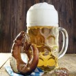 Beer and Pretzel, Oktoberfest — Stock Photo