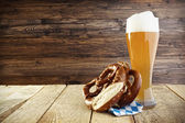 Beer Helles Hefeweizen and Pretzel, Oktoberfest — Stock Photo