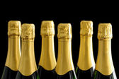 Champagne bottles on black backround — Stock Photo
