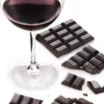 Red wine and chocolate — Stock Photo