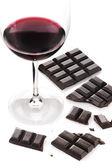 červené víno a čokolády — Stock fotografie