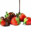 Strawberries and chocolate — Stock Photo