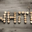 """WHITE"" written with corks — Stock Photo"