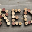"""RED"" written with corks — Foto Stock"