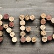 """RED"" written with corks — Stock Photo"