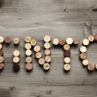 """TINTO"" written with corks — Stock Photo"