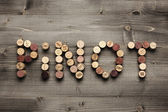 """PINOT"" written with corks — Stock Photo"