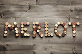 """MERLOT"" written with corks — Stock Photo"