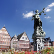 Justitia, Roemerberg Frankfurt Germany — Stock Photo