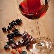 Stock fotografie: Red Wine, Fruits And Chocolate