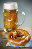 Pretzel and a Mass beer — Stock Photo