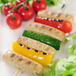 Grilled vegetables and Wuerstchen — Stockfoto