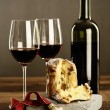 Red wine  and Panettone — Stock Photo