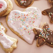 Christmas cookies in different shapes with icing — Stock Photo