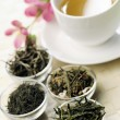 Stok fotoğraf: Different sorts of green tea and cup