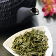 Stock Photo: Japanese teapot and green tea