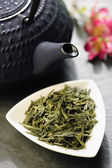 Japanese teapot and green tea — Stock Photo