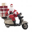 Santa Claus on vintage scooter — Stock Photo