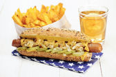 Healthy Homemade Veggie Hot Dog (Tofu sausage) with cheese — ストック写真