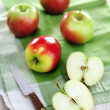 Apples on a kitchen towel — Stock Photo