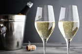 Two glasses of Champagner and Cooler — Stock Photo