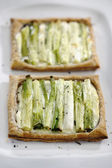 Green onion Tart with Goat Cheese — Stock Photo