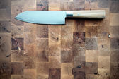 Damask Santoku Kitchen Knife — Stock Photo