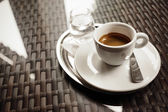 Espresso Coffee and Water — Stock Photo