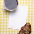 Stock Photo: Breakfast scene with Coffee, Croissant, Jam and Blank Paper