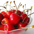 Tasty cherries in glass bowl — Stock Photo