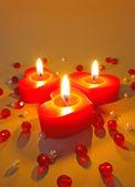 Three burning candles — Stock Photo