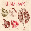 Grunge fallen leaves texture — Stock Vector