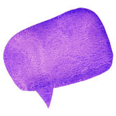 Purple watercolor speech bubble isolated on white background — Stock Photo