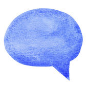 Blue watercolor speech bubble isolated on white background — Stock Photo
