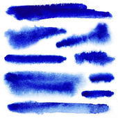 Blue watercolor paint strokes — Stock Photo