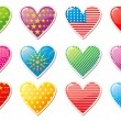Set of glossy Valentine's day hearts — Imagen vectorial