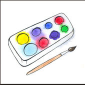 Illustration of watercolor paintbox and painbrush — Stock Photo
