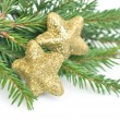 Christmas fir tree and glitter stars isolated on white backgroun — Stock Photo