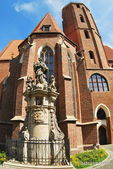 Gothic cathedral on the island Tumski in Wroclaw, Poland — Stock Photo